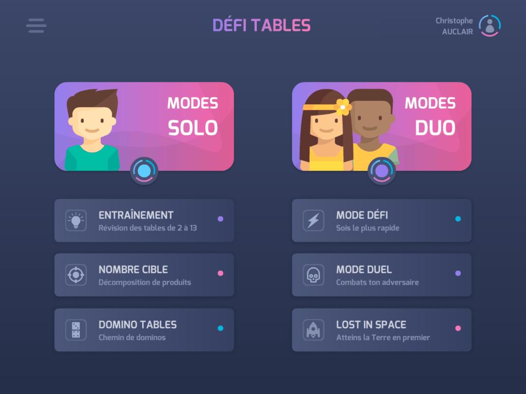 Défi tables